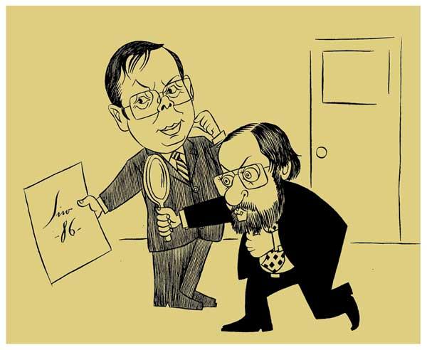 Non sei a razón pola que fixen esta caricatura de Juan Ramón, mostrándolle un papel co meu nome e unha data a Xosé Luís Barreiro Rivas; pero sei que está cuspidiño e esa era a expresión dos seus ollos, o seu surrir, na cara do pillabán que sabe o que esqueceu o demo, coa que eu o recordo