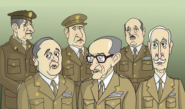 Generales Ibáñez Freire, Gutiérrez Mellado y Gabeiras Montero. Armada, Torres Rojas y Miláns del Boch